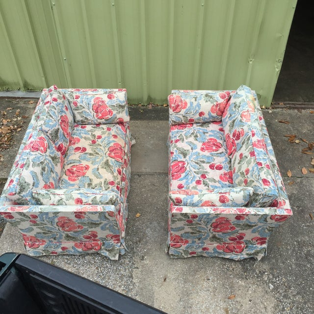 Vintage Mid-Century Modern Floral Love Seats - a Pair - Image 2 of 11