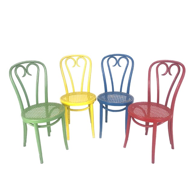 Vintage Wood Candy Cane Radomsko Cafe Chairs - Set of 4 - Image 6 of 6