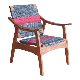 Handwoven Granito & Red Stripe Chair