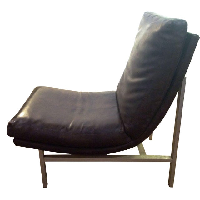 Mid Century Leather Sling Style Chair Chairish