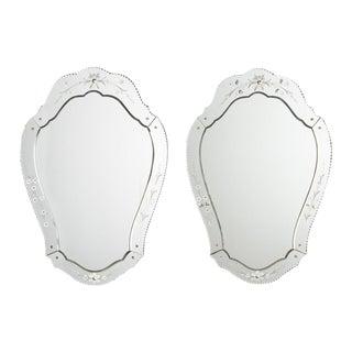 Pair of Venetian Glass Mirrors, France 1950s