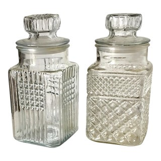 Quilted Crystal Jars with Lids - Pair