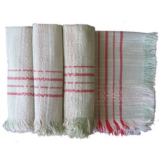 Vintage Green & Red Woven Napkins - Set of 4