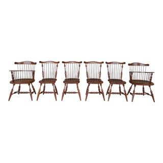Frederick Duckloe Colonial Reproductions Cherry Windsor Style Chairs - Set of 6