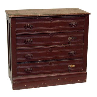 Burgundy Painted Wood Dresser