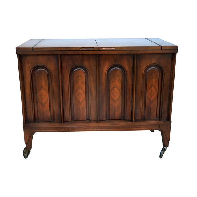 Mid Century modern Walnut Flip Top Bar Cabinet - Image 7 of 7