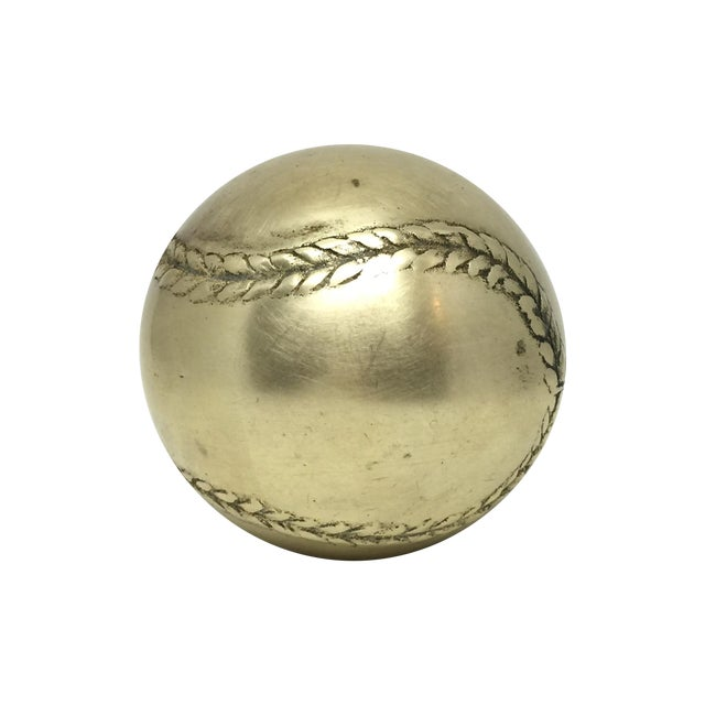 Image of Vintage Brass Baseball Paperweight
