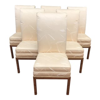 Mid-Century Brass Mastercraft Parson Dining Chairs - Set of 6