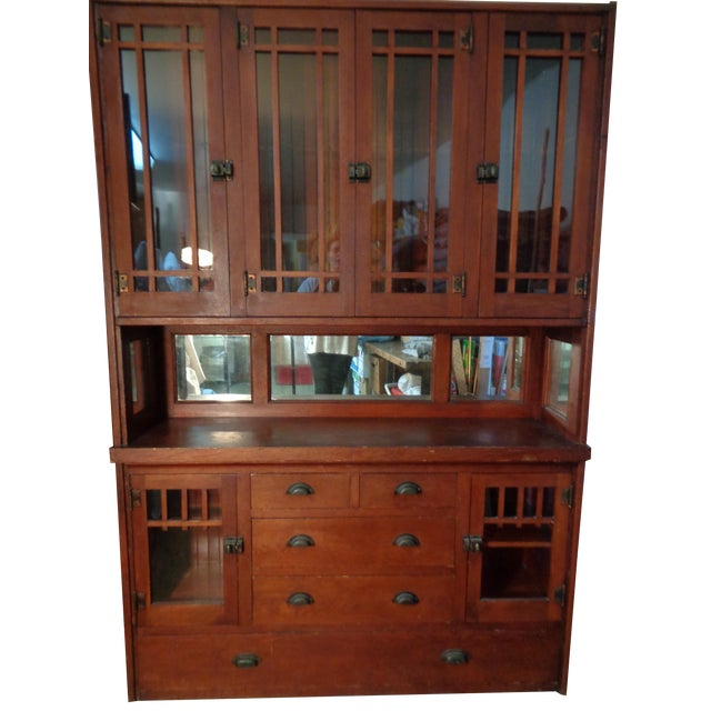 Antique Mission Hutch China Cabinet - Image 1 of 11