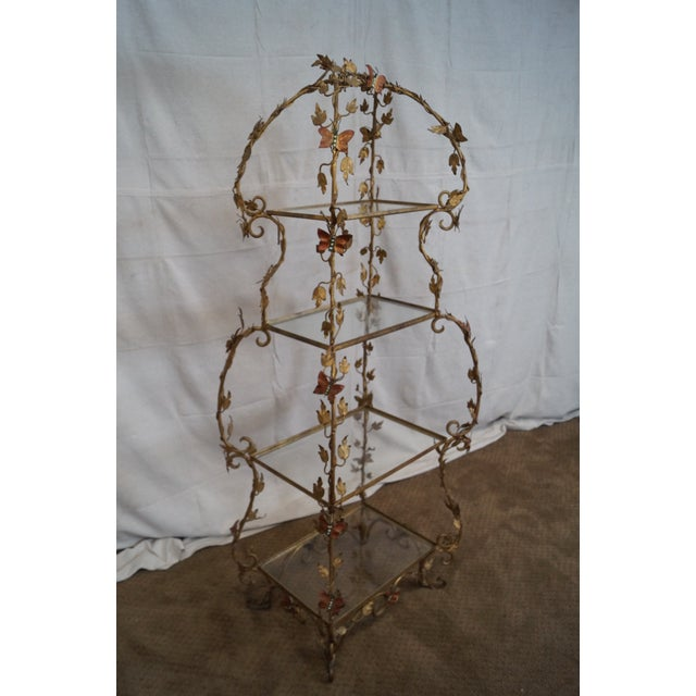 butterfly hand painted gilt metal vintage etagere chairish. Black Bedroom Furniture Sets. Home Design Ideas