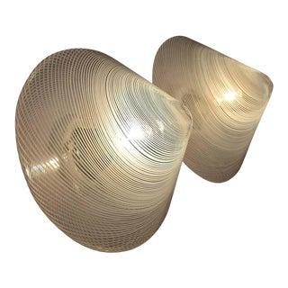 Handblown 1960s Wall or Ceiling Reticello Lights Venini Style