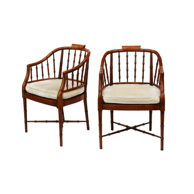 Hekman Faux Bamboo Chippendale Style Armchairs - a Pair - Image 6 of 6