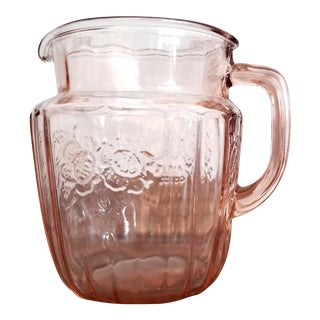 """Open Rose"" Pink Depression Glass Pitcher"