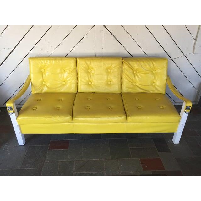 Image of Vintage Lemon Yellow Vinyl Sofa