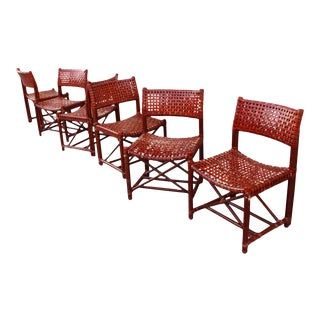 McGuire Woven Cowhide & Bamboo Dining Chairs - Set of 6