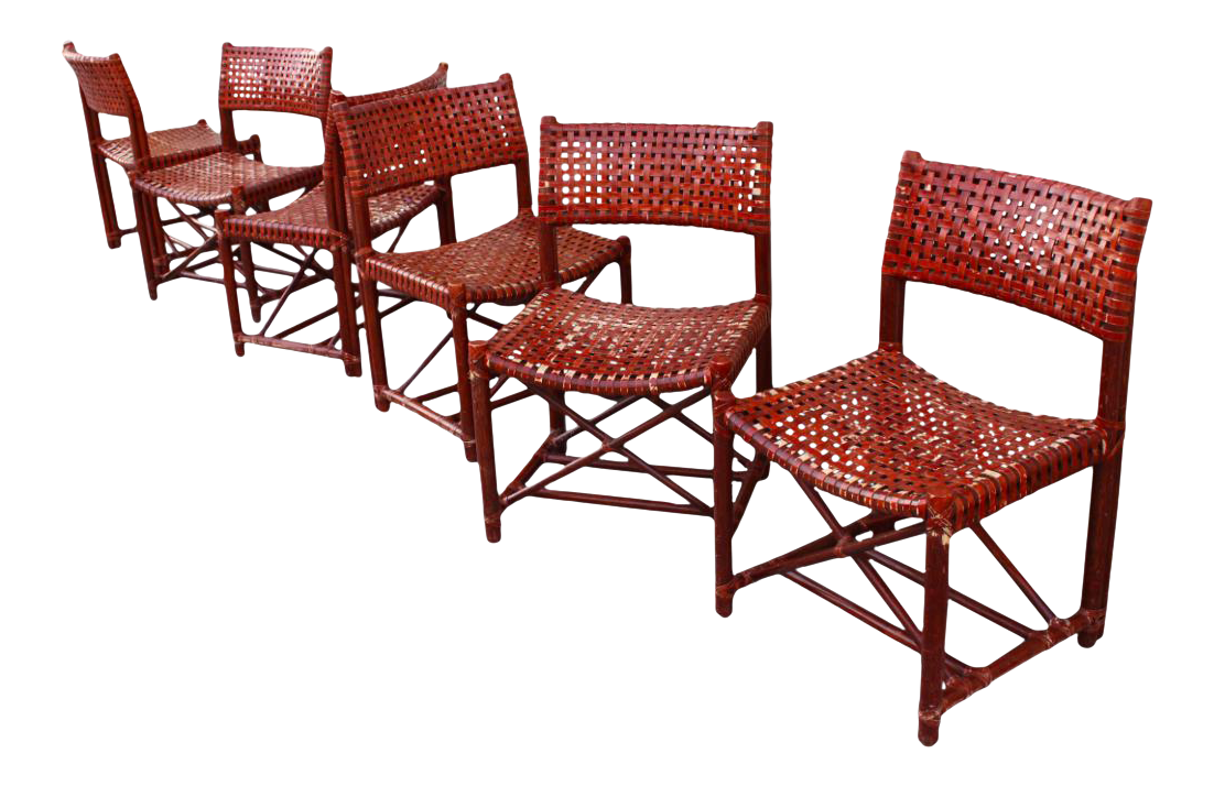 McGuire Woven Cowhide U0026 Bamboo Dining Chairs   Set ...