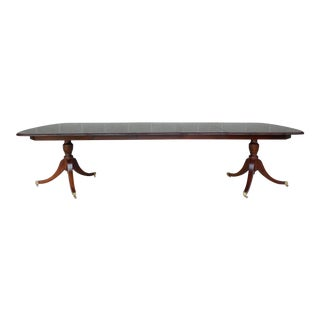 Solid Mahogany Double Pedestal Dining Extension Table