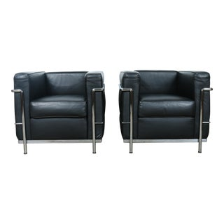 Le Corbusier Style Black Leather Club Chairs - A Pair