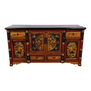 Tibetan Antique Colorful Hand Painted Sideboard