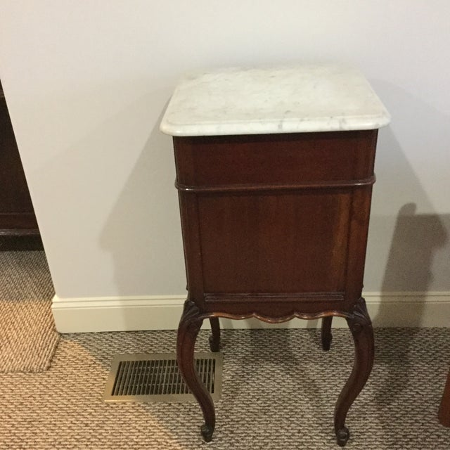 Antique Marble Top Walnut Nightstand - Image 9 of 10