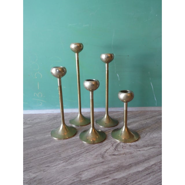 Brass Candlestick Holders- Set of 5 - Image 2 of 4