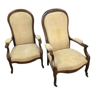Vintage French Arm Chairs Fauteuil Walnut - A Pair