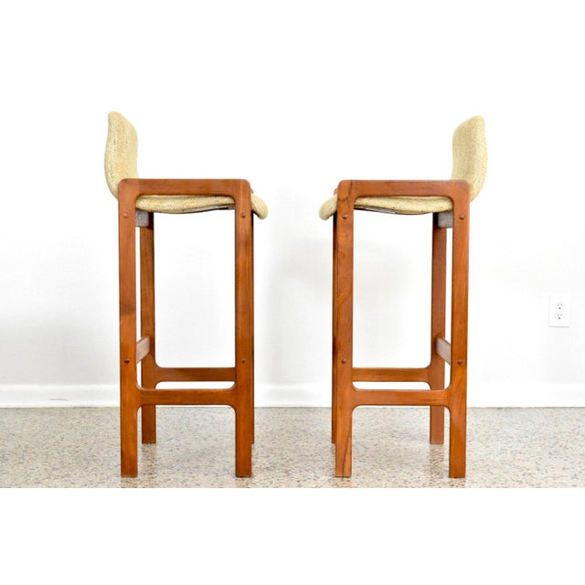 Image of Dixie Furniture Danish Modern Style Teak Bar Stools- A Pair