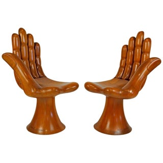 Pedro Friedeberg Natural Mahogany Right and Left Pair of Hand Chairs, Settee