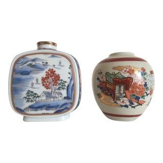 Vintage Japanese Ceramic Floral Vases - A Pair