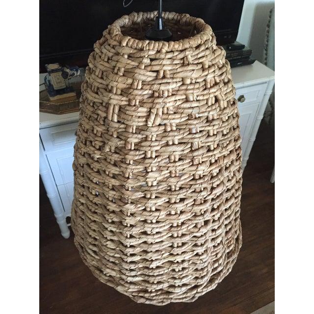 West Elm Natural Woven Seagrass Bell Pendant Light Fixture