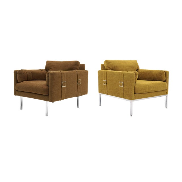 Original Complimenting Pair of Milo Baughman Lounge Chairs - Image 1 of 10
