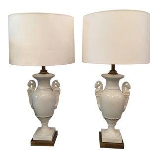 Pair of Elegant Greek Revival Style Biscuit Table Lamps