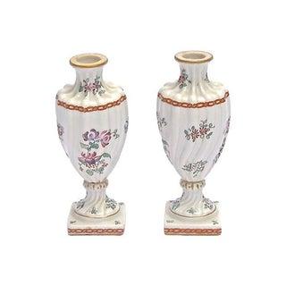 Antique Meissen Porcelain Floral Urn Vases, Pair