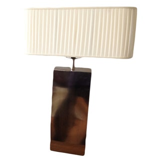 Mid-Century Rectangular Chrome Lamp with Shade