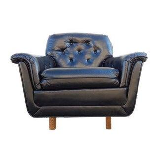 Black Tufted Naugahyde Lounge Chair