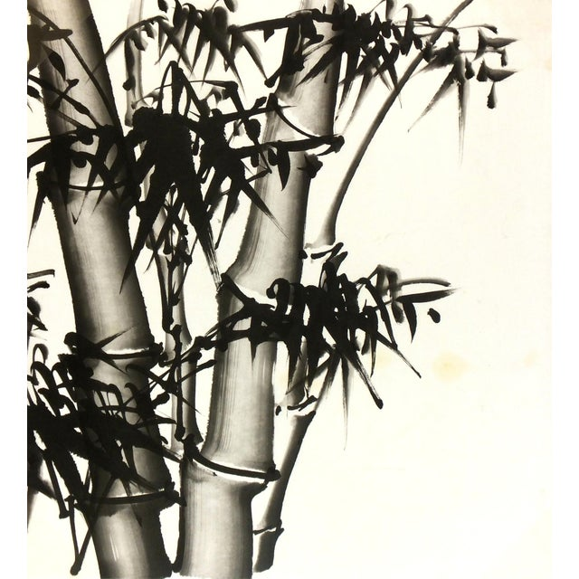Chinese Bamboo Black and White Painting - Image 1 of 3