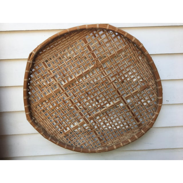 Giant Vintage Bamboo Winnowing Fish Drying Wall Basket - Image 5 of 7