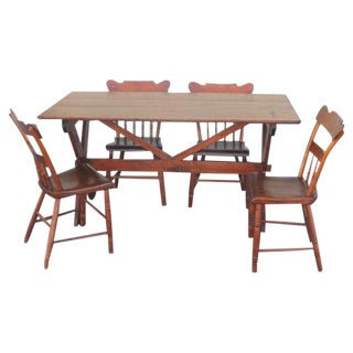 Pennsylvania Pine Sawbuck Table and Set of Four Plank Bottom Chairs
