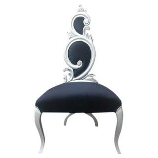 French Style Black Velvet & Silver Side Chair