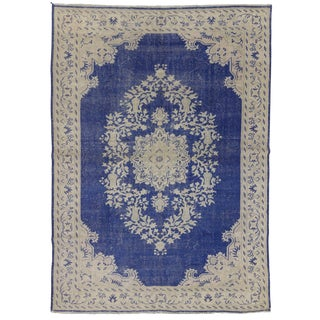 Vintage Unique Navy & Beige Medallion Oushak Rug - 7′3″ × 10′2″