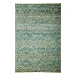 "Eclectic, Hand Knotted Green & Blue Wool Area Rug - 6' 1"" X 9' 0"""