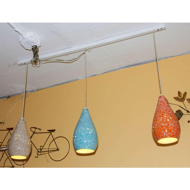 Set of Three Colorful Glazed Ceramic Pendant Lights - Image 3 of 4