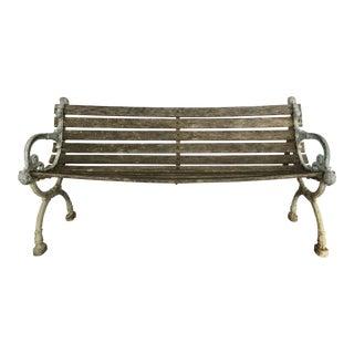 Antique Metal & Wood Park Bench