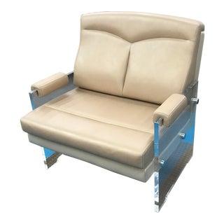 Acrylic and Leather Armchair
