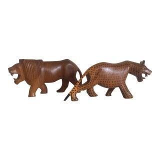 Vintage African Mid-Century Hand Carved Teak Leopard & Lion Figures- A Pair