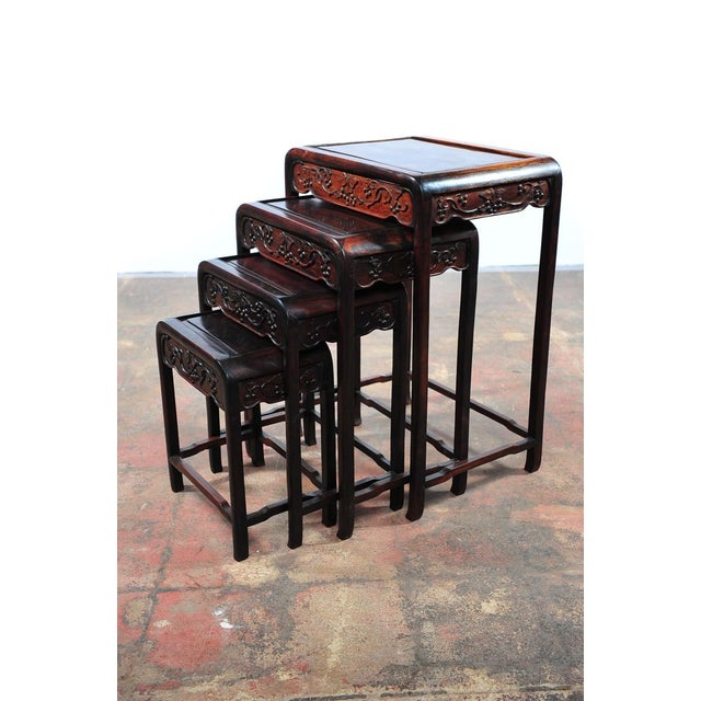 19th C Chinese Rosewood Nesting Tables Set Of 4 Chairish
