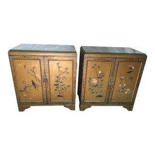 Pair Hollywood Regency Chinese Chinoiserie Chests With Hardstone Decoration