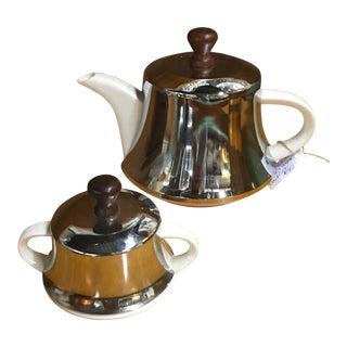 Mid-Century Tea/Coffee Pot & Sugar Bowl - A Pair