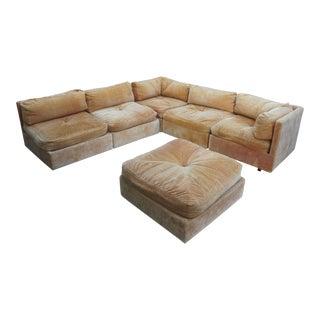 Milo Baughman for Forecast Furniture Peach Orange Mohair Modular Sectional Sofa