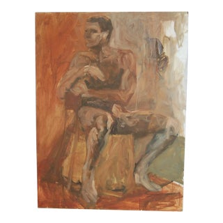 Reflective Male Nude Portrait Oil Painting